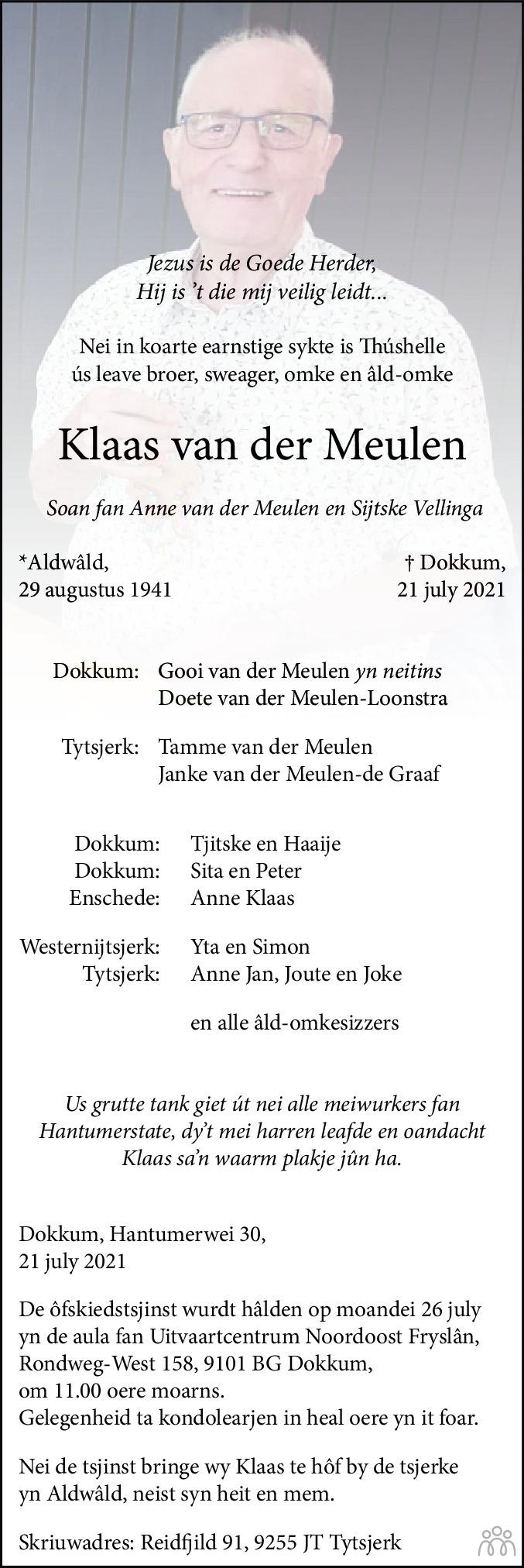 Overlijdensbericht van Klaas van der Meulen in Leeuwarder Courant