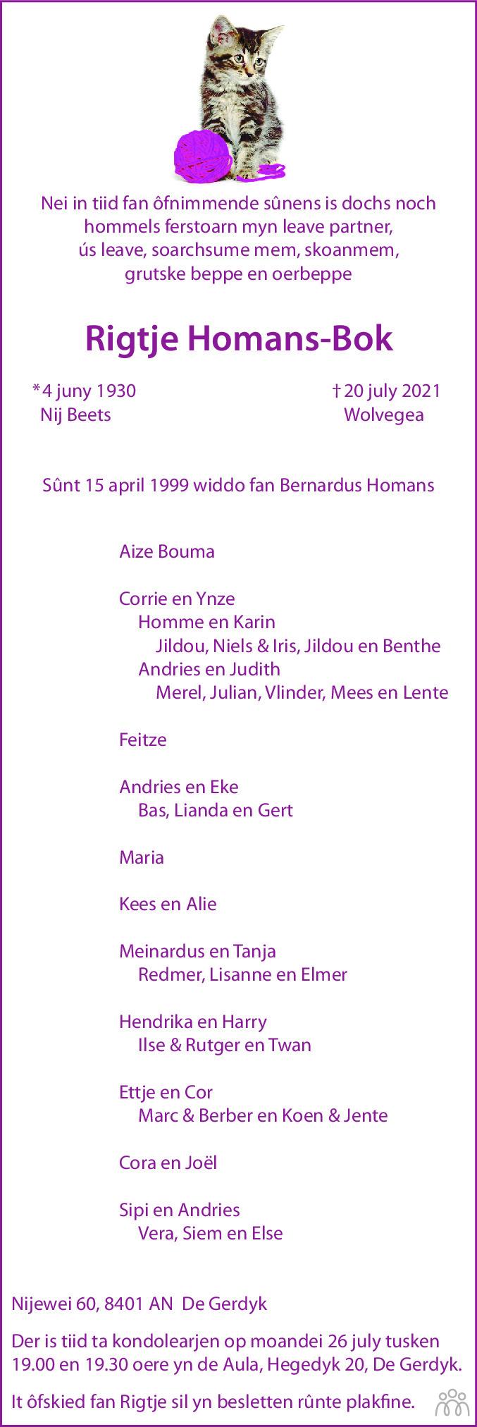 Overlijdensbericht van Rigtje Homans-Bok in Leeuwarder Courant