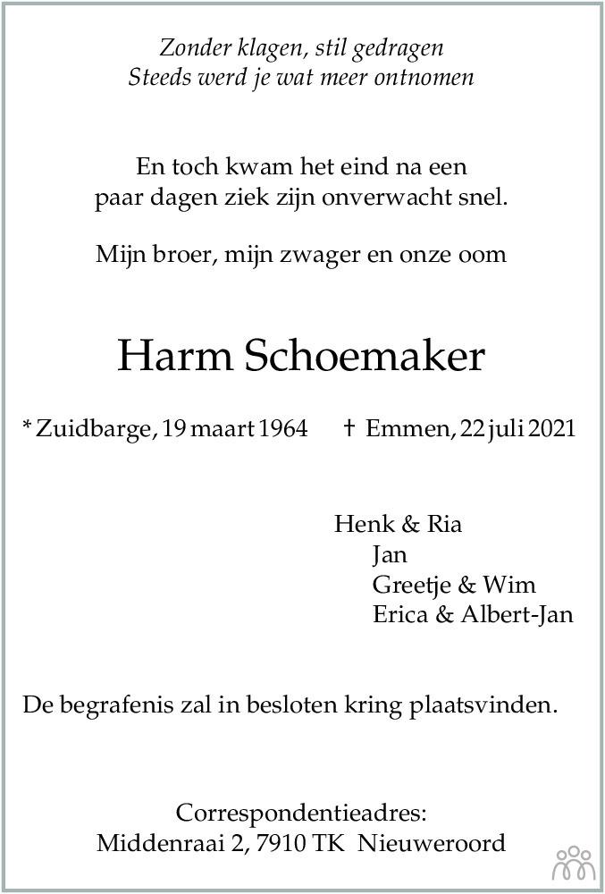 Overlijdensbericht van Harm Schoemaker in Dagblad van het Noorden