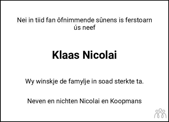 Overlijdensbericht van Klaas Nicolai in Leeuwarder Courant