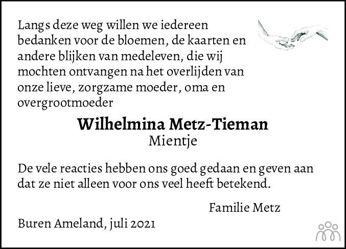 Overlijdensbericht van Wilhelmina (Mientje) Metz-Tieman in Leeuwarder Courant