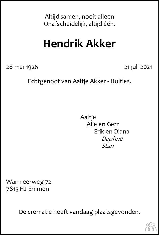 Overlijdensbericht van Hendrik Akker in Dagblad van het Noorden