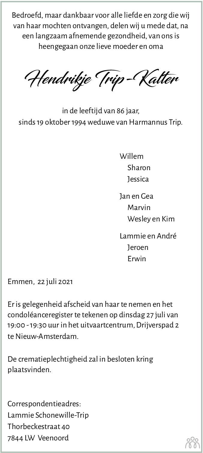 Overlijdensbericht van Hendrikje Trip-Kalter in Dagblad van het Noorden