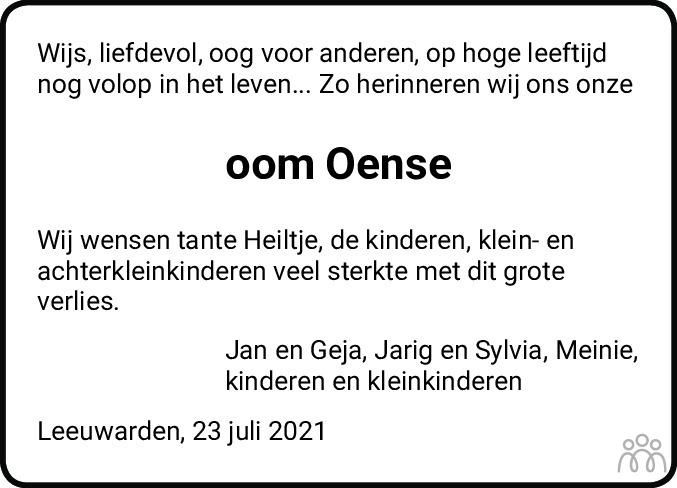 Overlijdensbericht van Oense Straatsma in Leeuwarder Courant