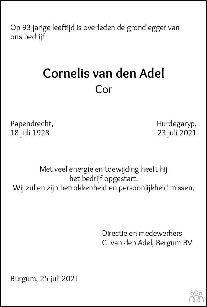 Overlijdensbericht van Cornelis (Cor) van den Adel in Leeuwarder Courant