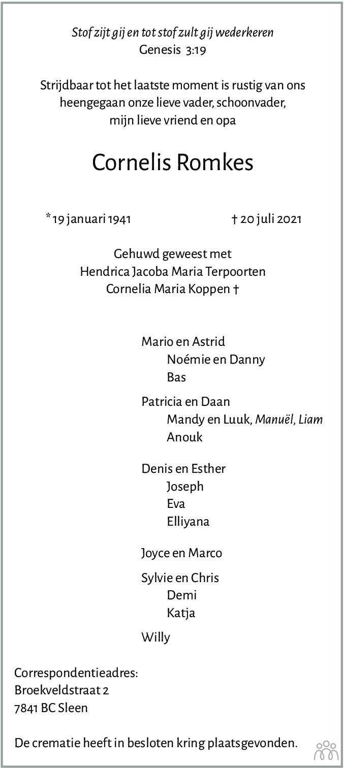 Overlijdensbericht van Cornelis Romkes in Coevorden Huis aan Huis