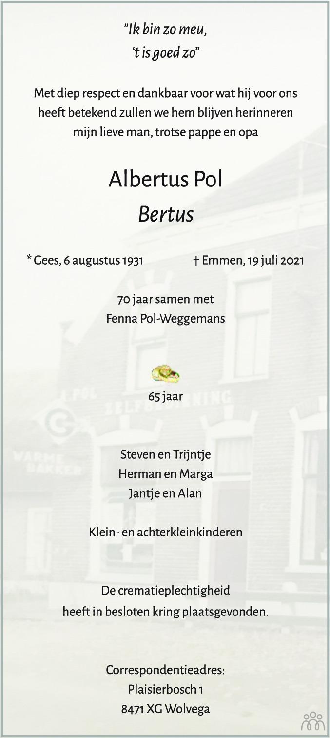 Overlijdensbericht van Albertus (Bertus) Pol in Coevorden Huis aan Huis