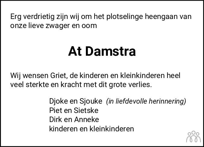 Overlijdensbericht van Atte Anne Damstra in Leeuwarder Courant