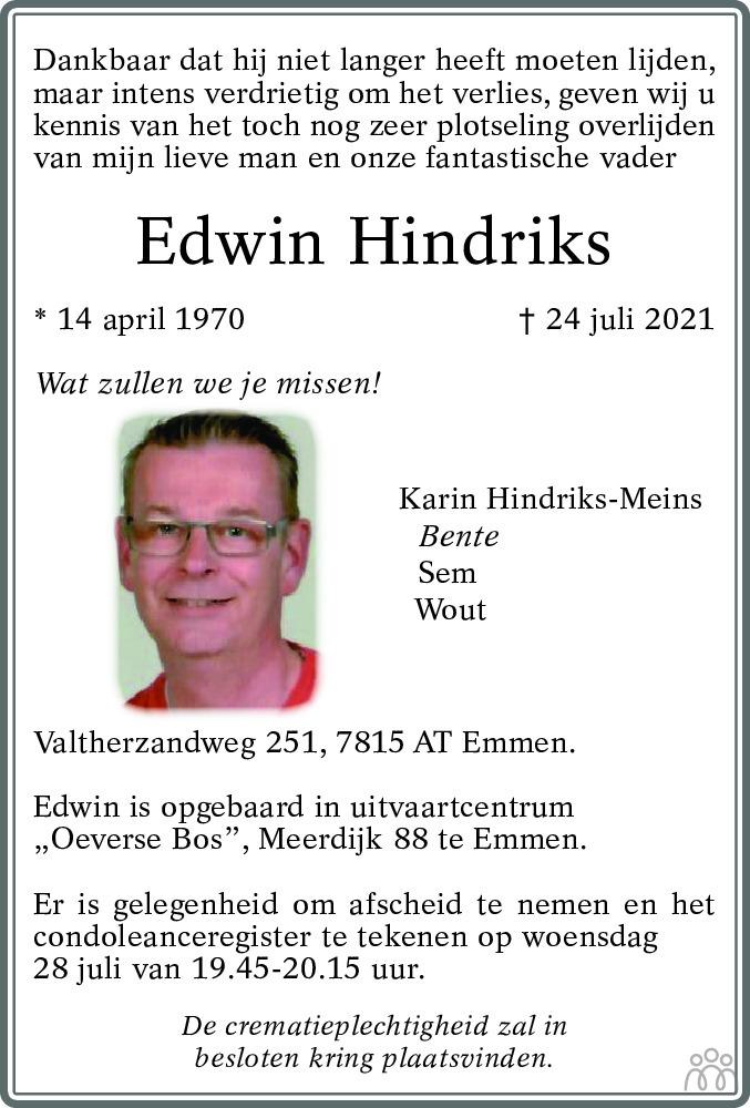 Overlijdensbericht van Edwin Hindriks in Dagblad van het Noorden