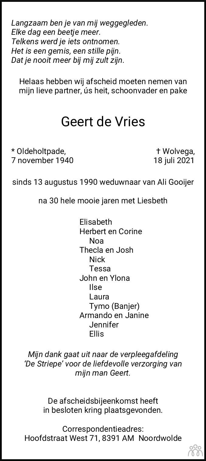 Overlijdensbericht van Geert de Vries in De Stellingwerf
