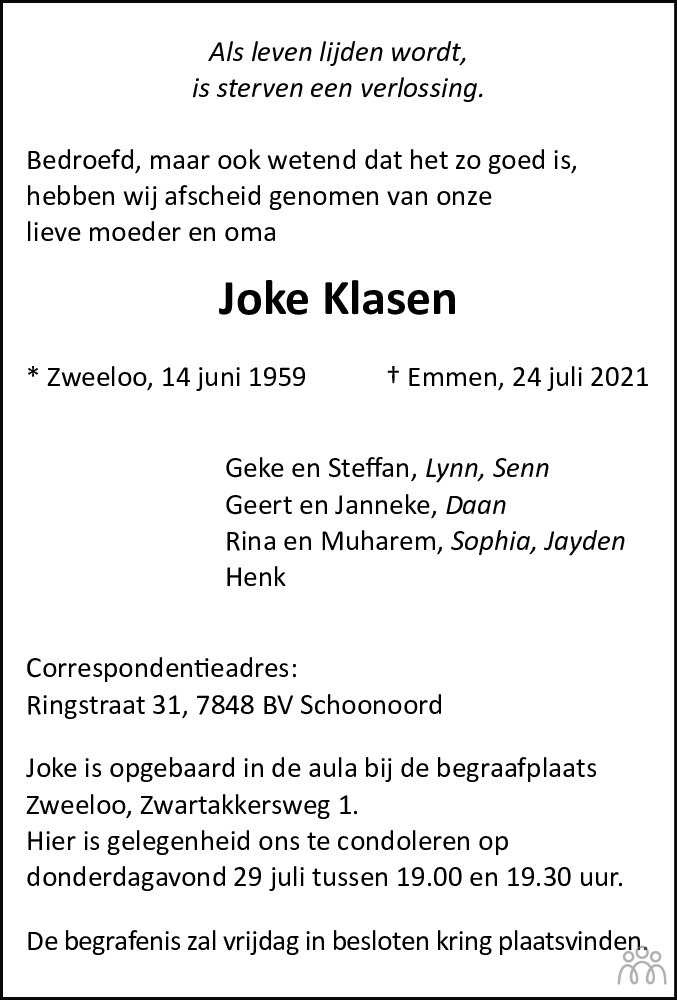 Overlijdensbericht van Joke Klasen in Dagblad van het Noorden