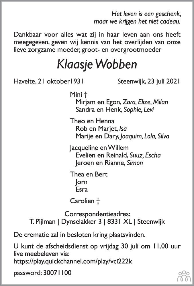 Overlijdensbericht van Klaasje Wobben in Steenwijker Courant