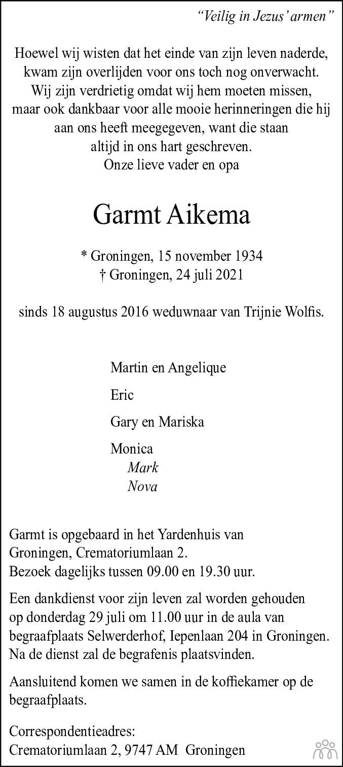Overlijdensbericht van Garmt Aikema in Dagblad van het Noorden