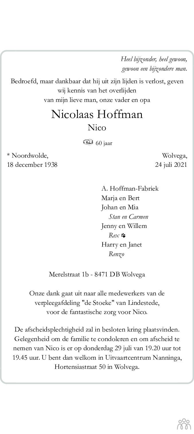 Overlijdensbericht van Nicolaas (Nico) Hoffman in De Stellingwerf