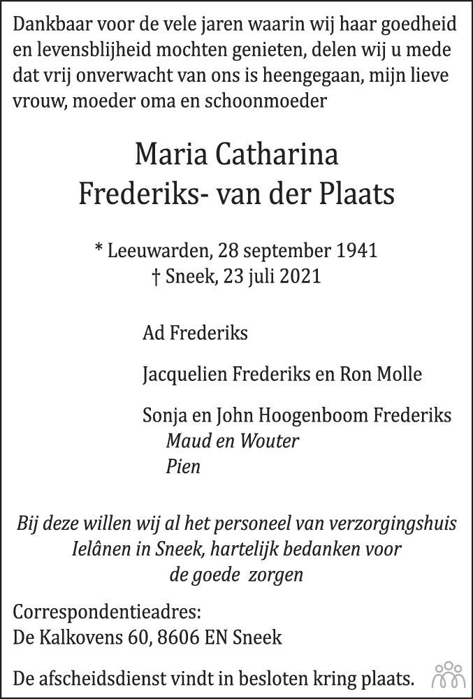 Overlijdensbericht van Maria Catharina Frederiks-van der Plaats in Leeuwarder Courant