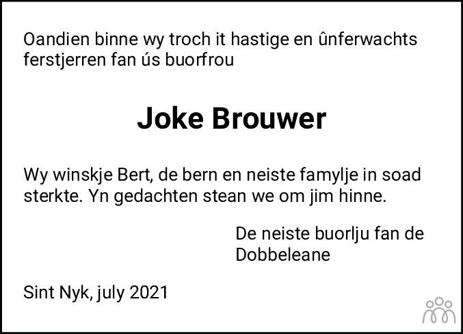 Overlijdensbericht van Joke Brouwer-Bijstra in Leeuwarder Courant