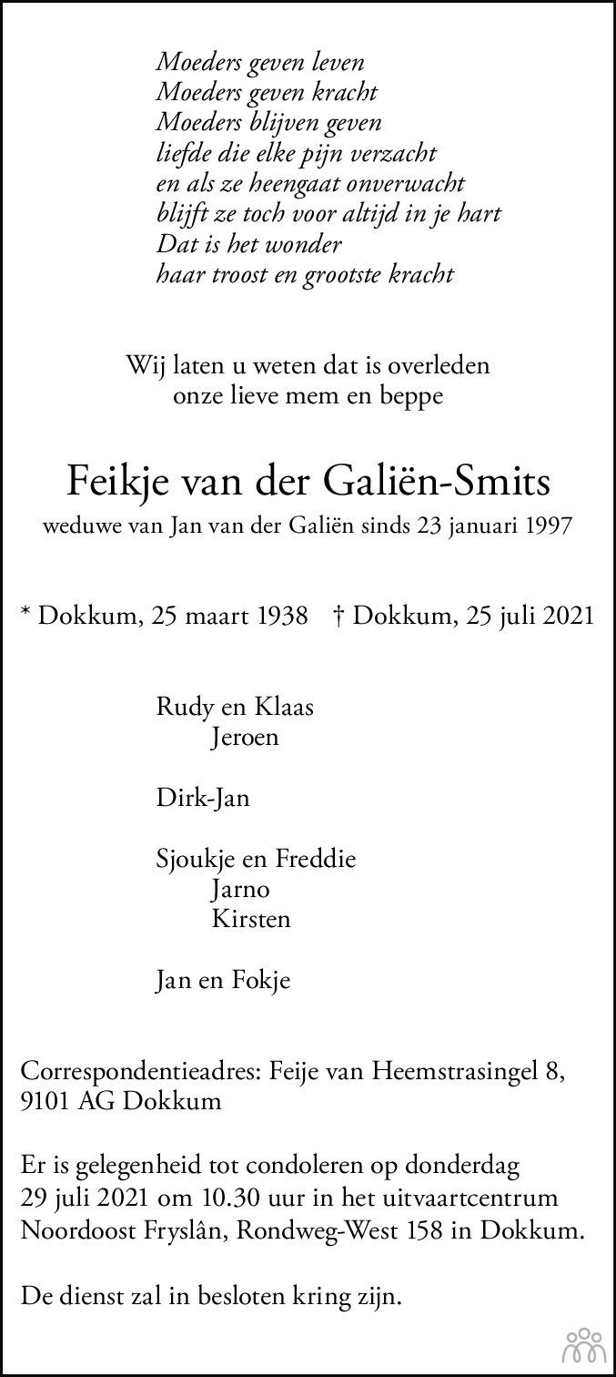 Overlijdensbericht van Feikje van der Galiën-Smits in Leeuwarder Courant