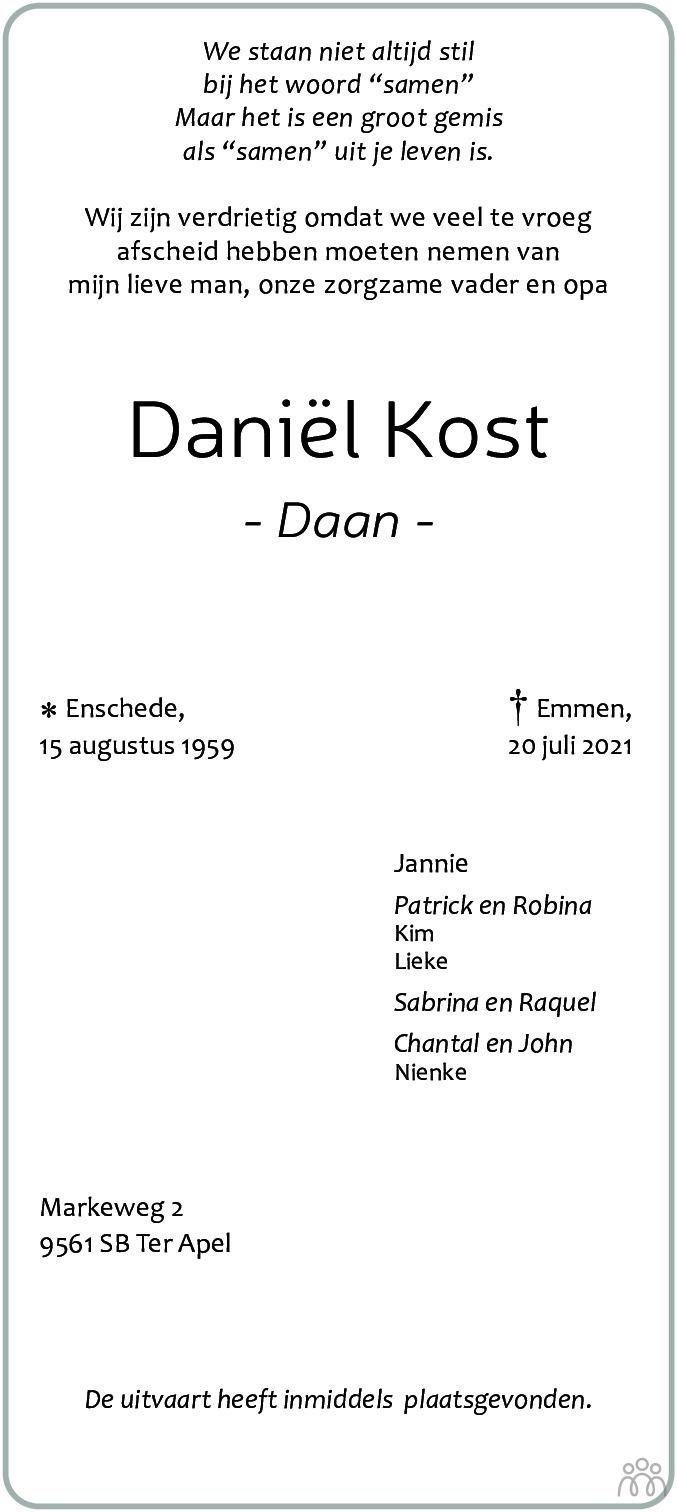 Overlijdensbericht van Daniël (Daan) Kost in Kanaalstreek Ter Apeler Courant