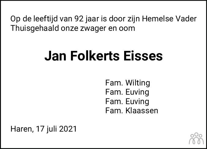 Overlijdensbericht van Jan Folkerts Eisses in Groninger Gezinsbode