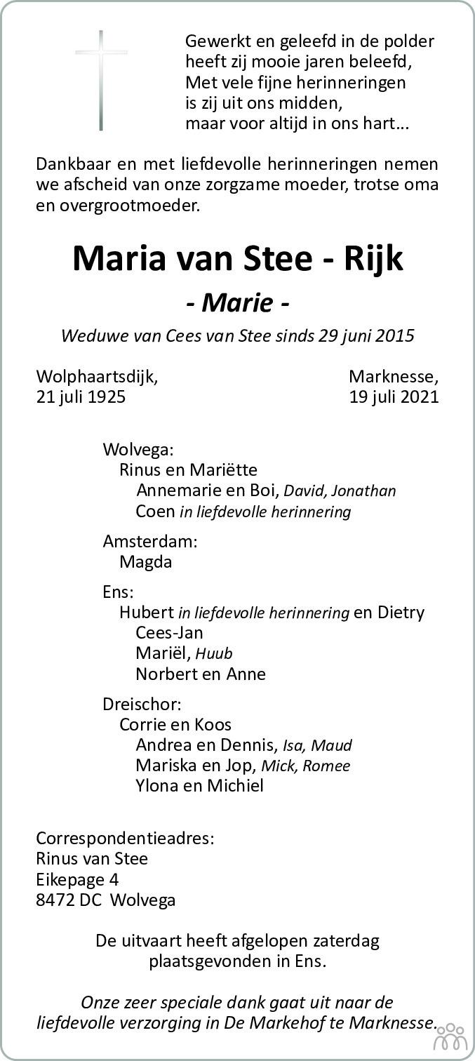 Overlijdensbericht van Maria (Marie) van Stee-Rijk in Flevopost Dronten