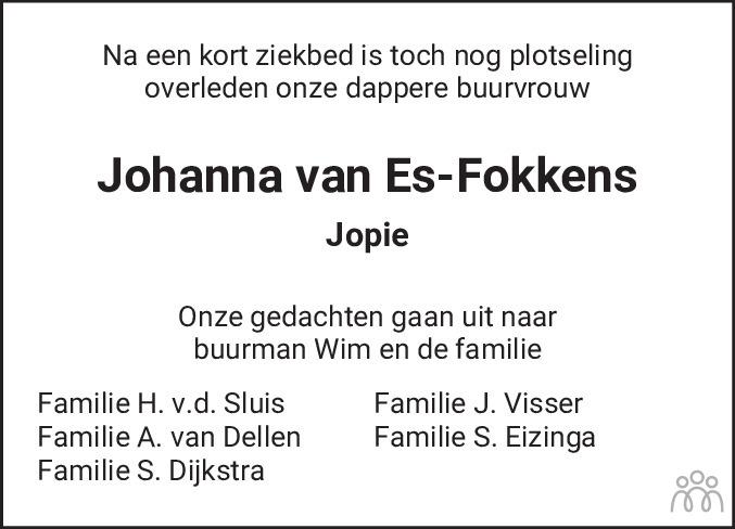 Overlijdensbericht van Johanna (Jopie) van Es-Fokkens in De Feanster