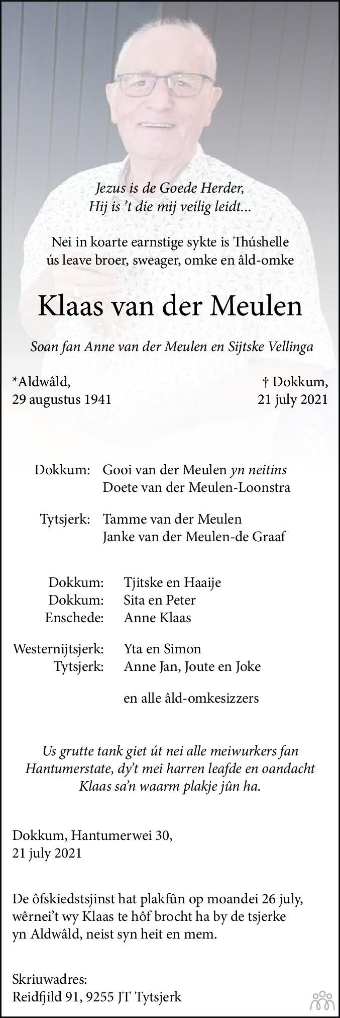 Overlijdensbericht van Klaas van der Meulen in Dockumer Courant