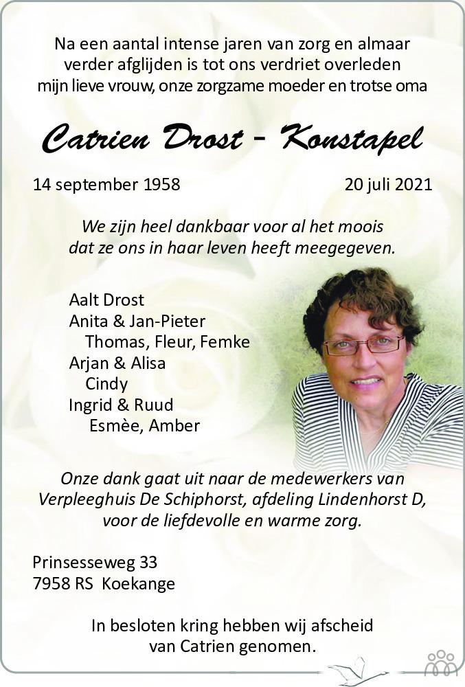 Overlijdensbericht van Catrien Drost-Konstapel in Westervelder - Wolder Courant