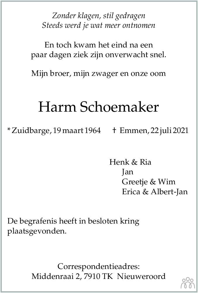 Overlijdensbericht van Harm Schoemaker in De krant van Midden-Drenthe