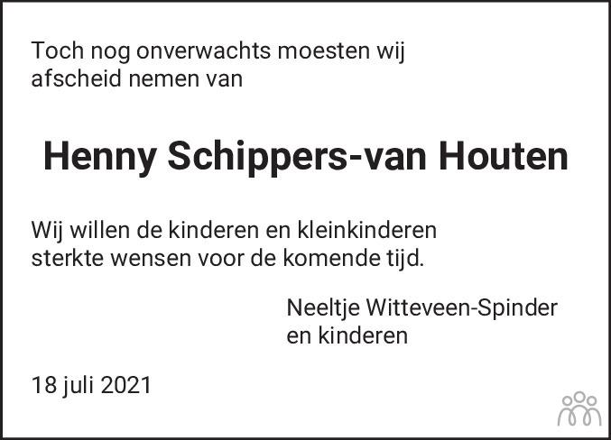 Overlijdensbericht van Henny Schippers-van Houten in De Feanster