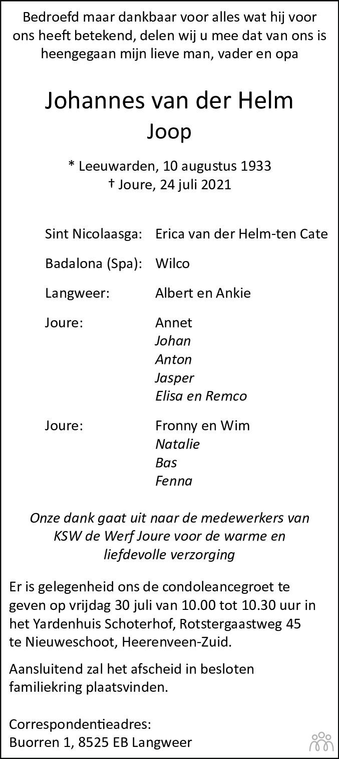 Overlijdensbericht van Johannes (Joop) van der Helm in Leeuwarder Courant