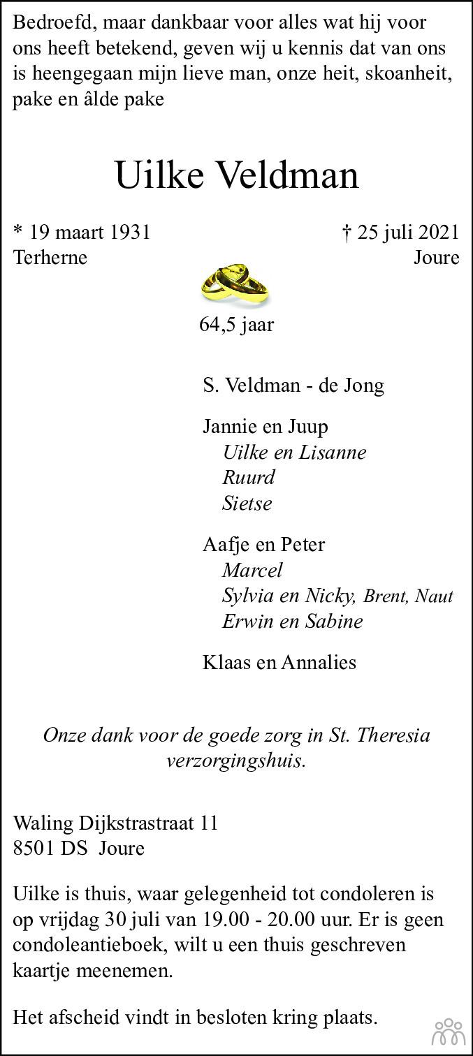 Overlijdensbericht van Uilke Veldman in Leeuwarder Courant