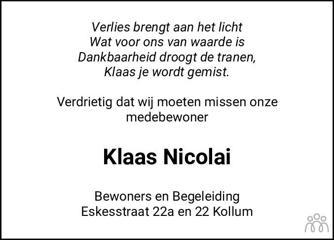 Overlijdensbericht van Klaas Nicolai in Dockumer Courant