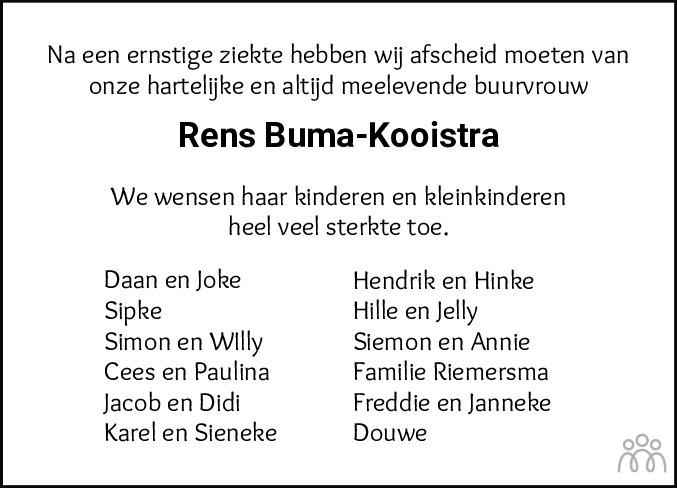 Overlijdensbericht van Renstje (Rens) Buma-Kooistra in Dockumer Courant