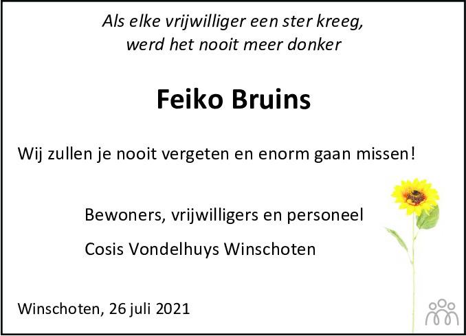 Overlijdensbericht van Feiko Bruins in Dagblad van het Noorden