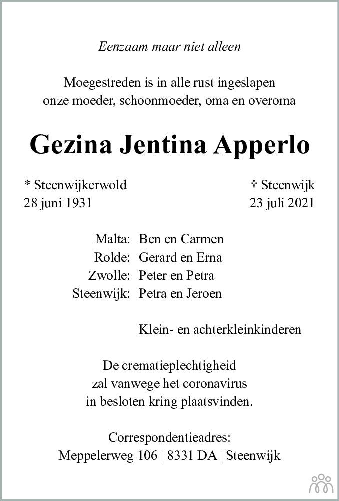 Overlijdensbericht van Gezina Jentina Apperlo in Meppeler Courant