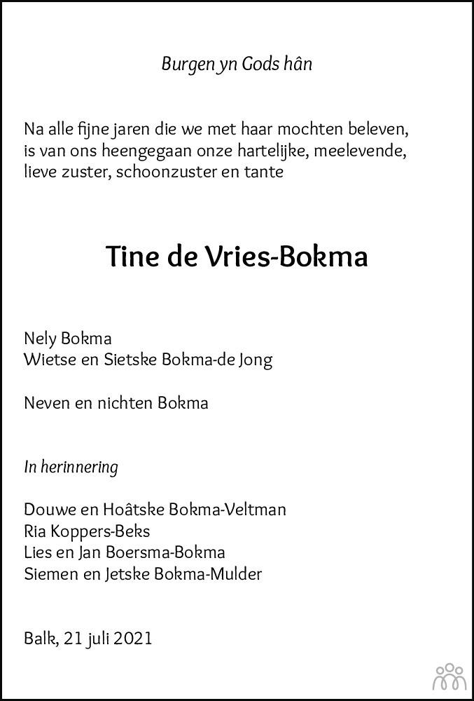 Overlijdensbericht van Tine de Vries-Bokma in Balkster Courant HAH