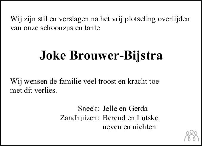 Overlijdensbericht van Joke Brouwer-Bijstra in De Stellingwerf