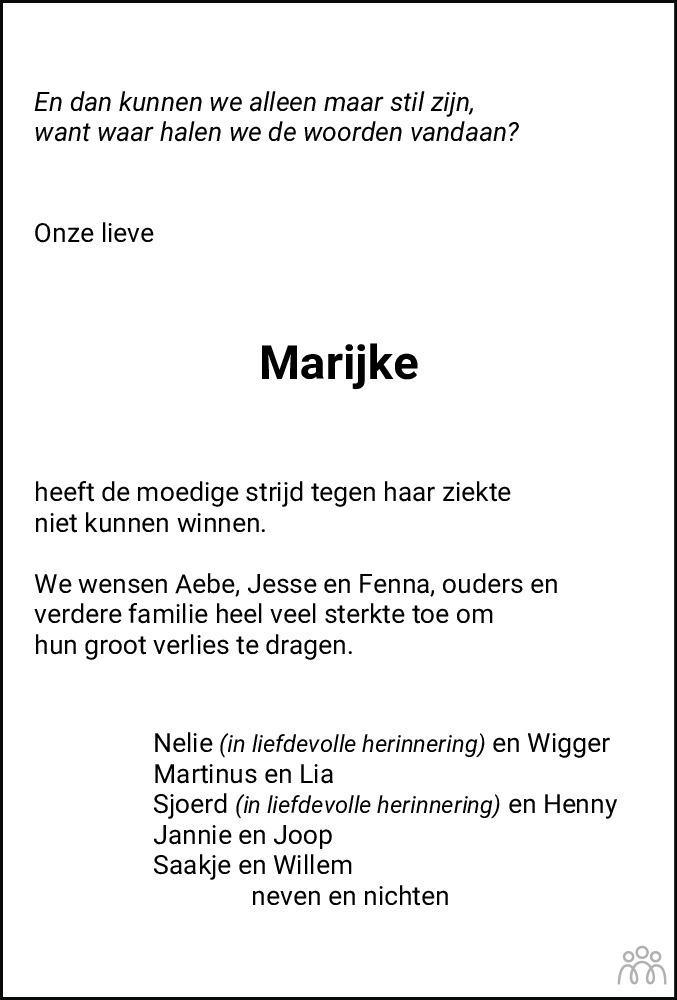 Overlijdensbericht van Marijke Meindertsma-Bruinsma in Leeuwarder Courant