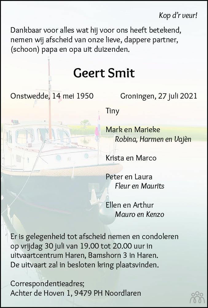 Overlijdensbericht van Geert Smit in Dagblad van het Noorden