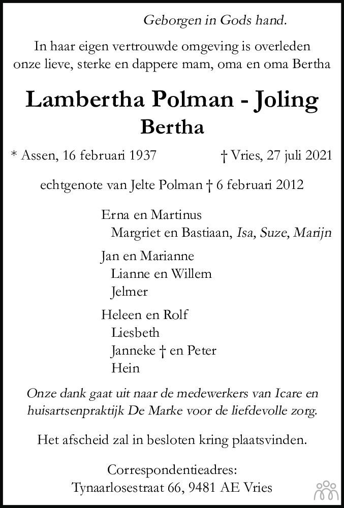 Overlijdensbericht van Lambertha (Bertha) Polman-Joling in Dagblad van het Noorden