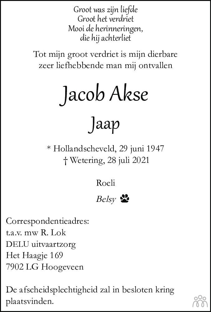 Overlijdensbericht van Jacob (Jaap) Akse in Meppeler Courant