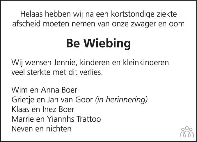 Overlijdensbericht van Berend (Bé) Wiebing in Hoogeveensche Courant