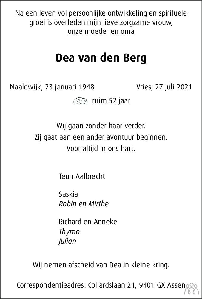 Overlijdensbericht van Dea van den Berg in Dagblad van het Noorden