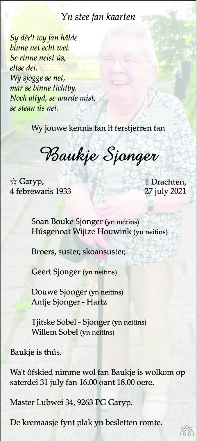 Overlijdensbericht van Baukje Sjonger in Leeuwarder Courant