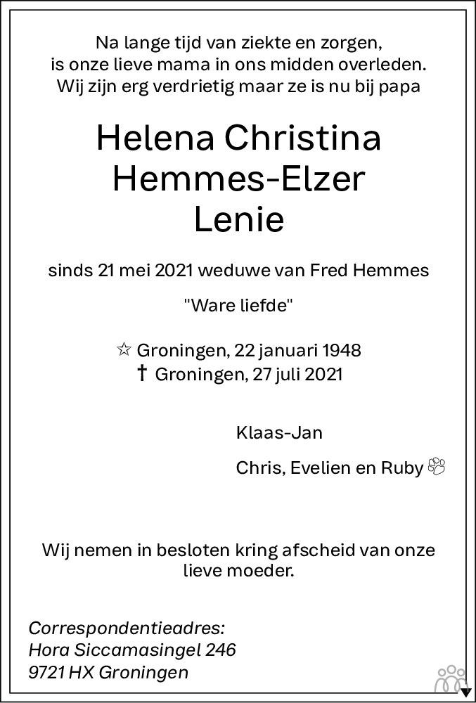 Overlijdensbericht van Helena (Lenie) Christina Hemmes-Elzer in Dagblad van het Noorden