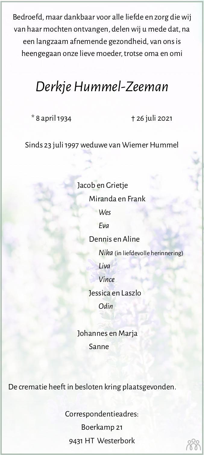 Overlijdensbericht van Derkje Hummel-Zeeman in Dagblad van het Noorden