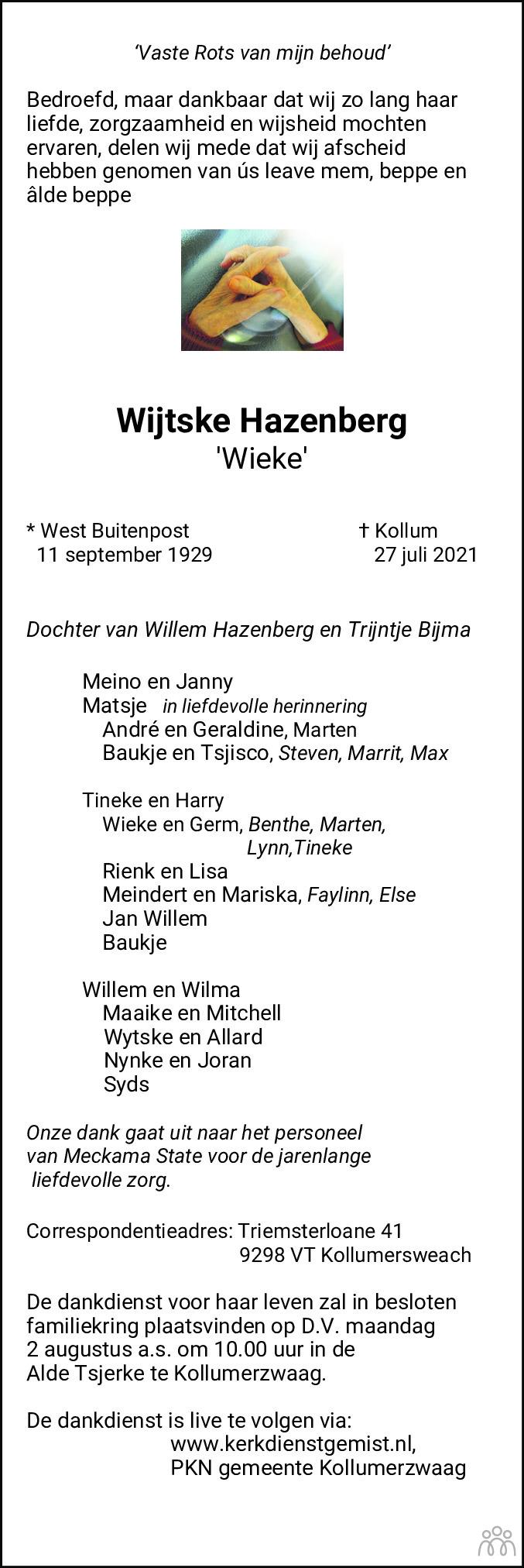Overlijdensbericht van Wijtske (Wieke) Hazenberg in Leeuwarder Courant