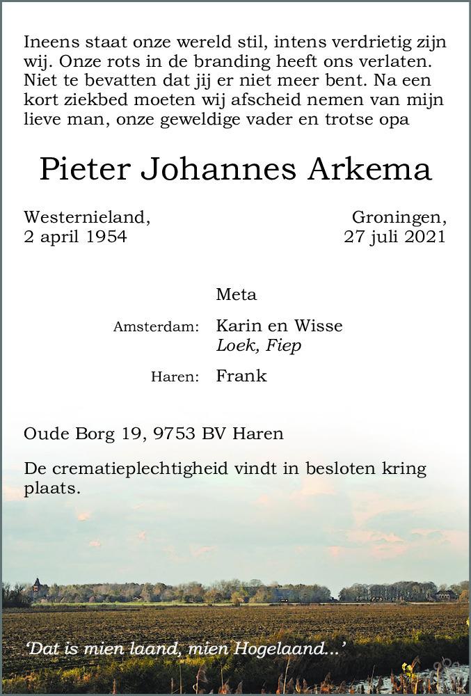 Overlijdensbericht van Pieter Johannes Arkema in Dagblad van het Noorden