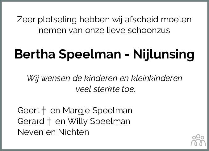 Overlijdensbericht van Bertha Speelman-Nijlunsing in Dagblad van het Noorden