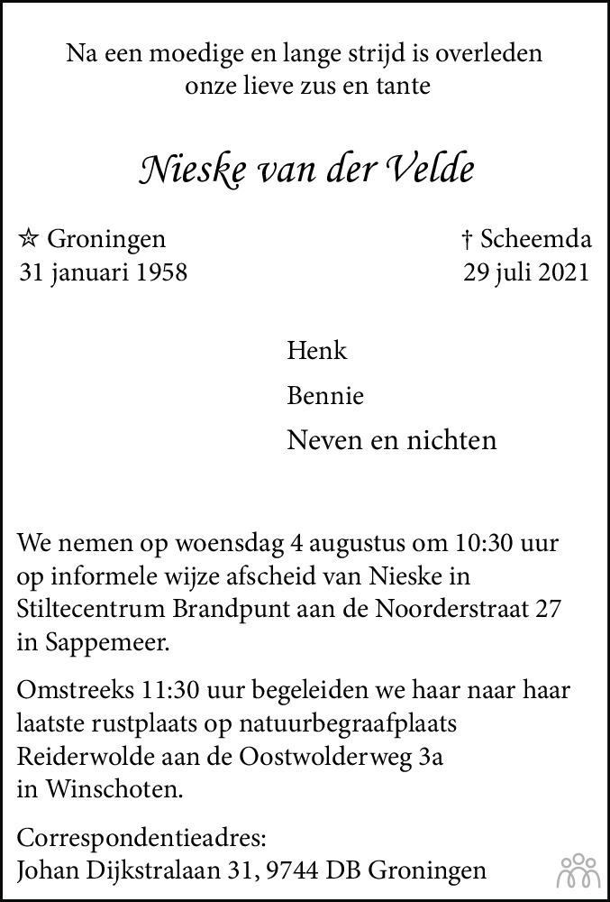 Overlijdensbericht van Nieske van der Velde in Dagblad van het Noorden